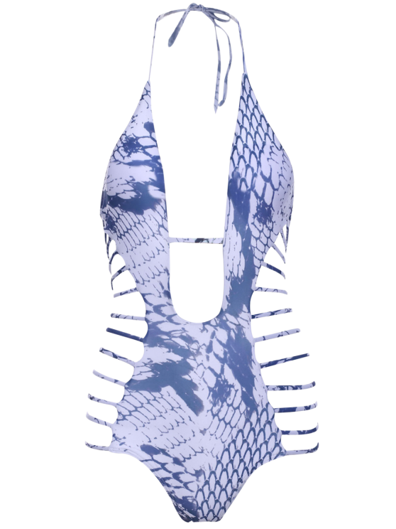 Snakeskin Print High-Cut One-Piece Swimwear - WHITE M Mobile
