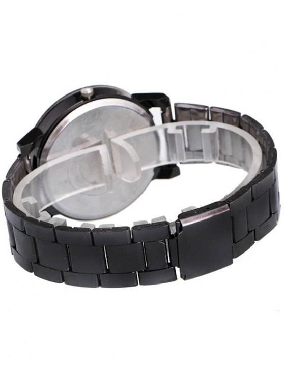 Circle Casual Steel Band Quartz Watch - BLACK  Mobile