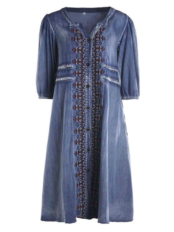 Vestido Tribual de Denim con Botones con Cordón - Azul S