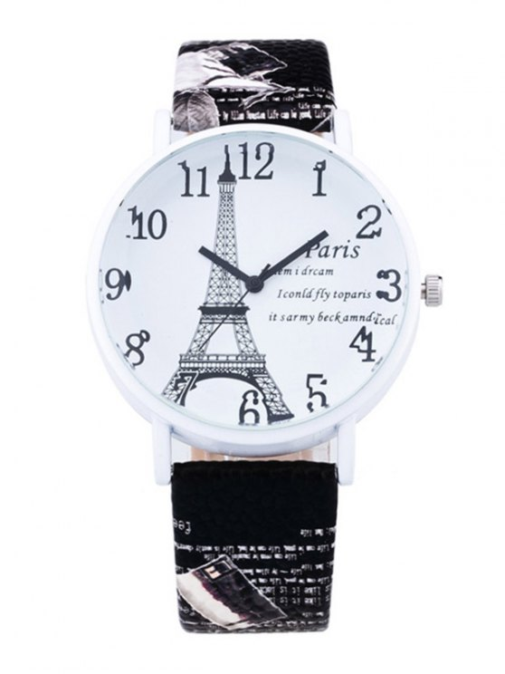 Eiffel Tower PU Leather Quartz Watch - BLACK  Mobile
