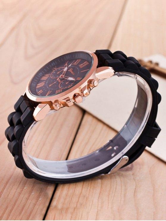 Roman Numerals Silicone Quartz Watch - BLACK  Mobile