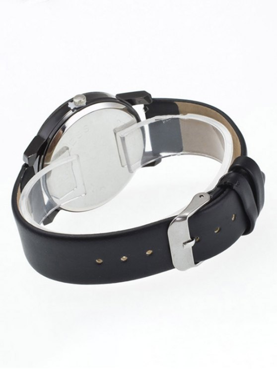 Rhinestone Geometric Faux Leather Quartz Watch - BLACK  Mobile
