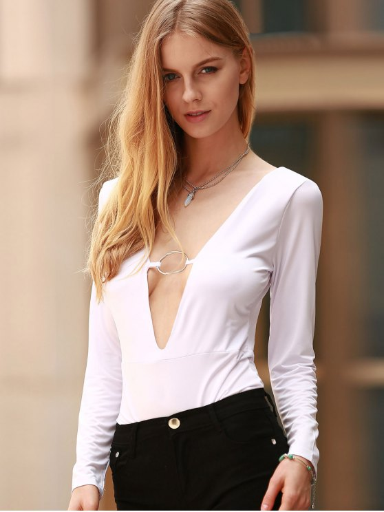 Long Sleeve Skinny Cut Out Bodysuit - WHITE S Mobile