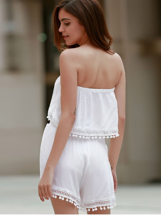 Off The Shoulder White Tank Top and Lace Spliced  High Waist Shorts - WHITE M Mobile