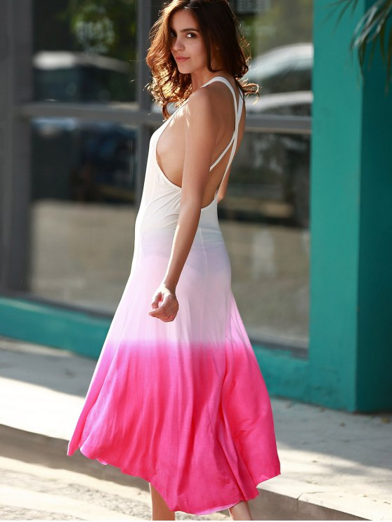 Pink Ombre Color Plunging Neck Sleeveless Sundress - PINK S Mobile