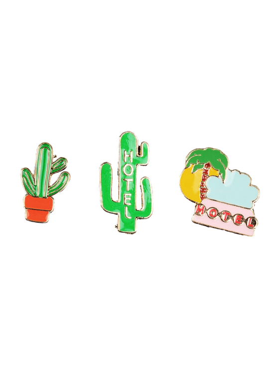 Cactus Hotel Coconut Tree Brooch Set - GREEN  Mobile