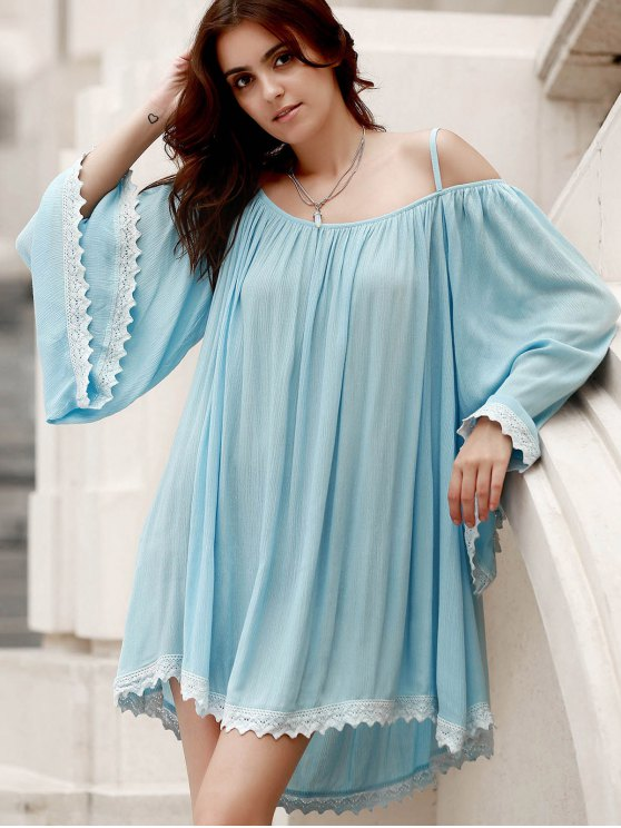 Flare Sleeve Lace Hem A-Line Dress - LIGHT BLUE ONE SIZE(FIT SIZE XS TO M) Mobile