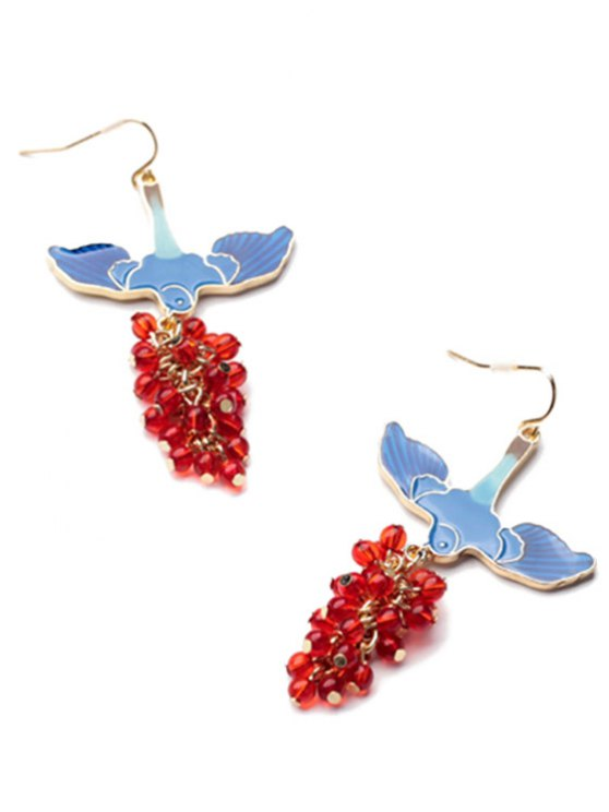 Pair of Beads Pendant Earrings - BLUE AND RED  Mobile