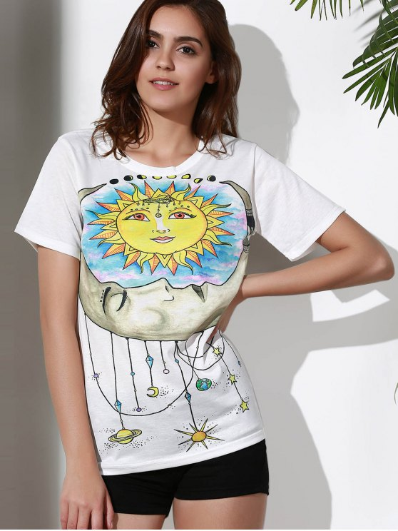 Sun Print Round Neck Short Sleeve T-Shirt - WHITE M Mobile