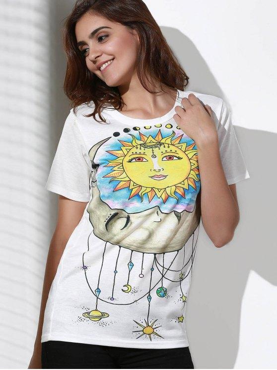 Sun Print Round Neck Short Sleeve T-Shirt - WHITE 2XL Mobile