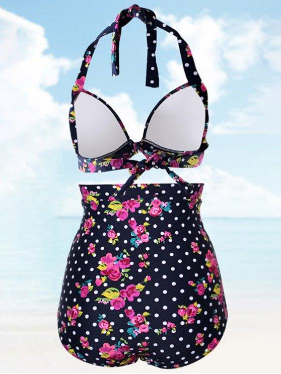 Vintage Floral Polka Dot High Waisted Bikini Set - COLORMIX 2XL Mobile