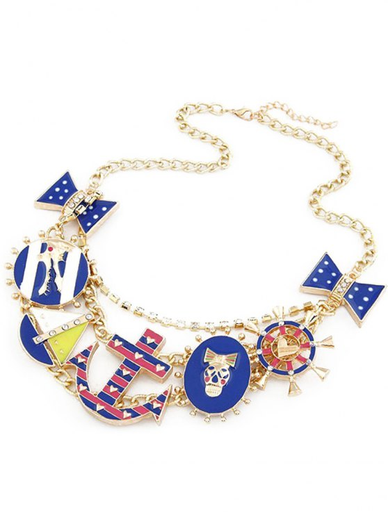 outfit Anchor Bow Skull Statement Necklace - GOLDEN