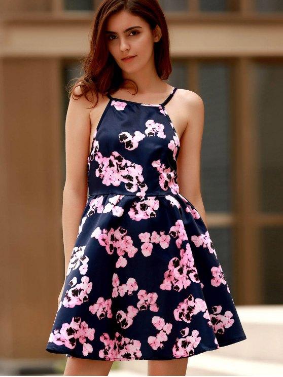 Open Back Floral Print Spaghetti Straps Dress - PURPLISH BLUE S Mobile
