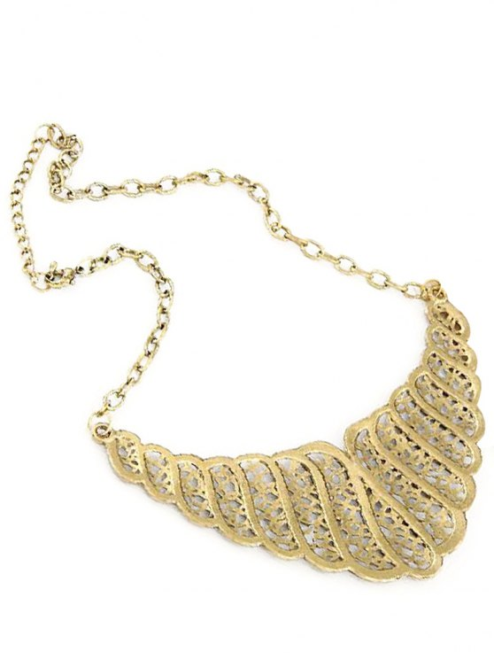 Rhinestone Hollow Out Palace Style Necklace - GOLDEN  Mobile