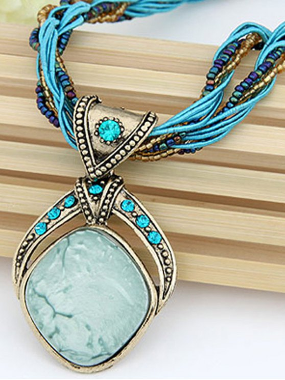 Faux Gem Multilayered Retro Style Necklace - LAKE BLUE  Mobile