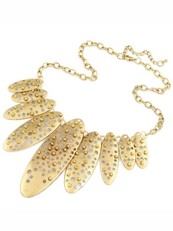 lady Hollow Out Ellipse Shape Retro Style Necklace - GOLDEN