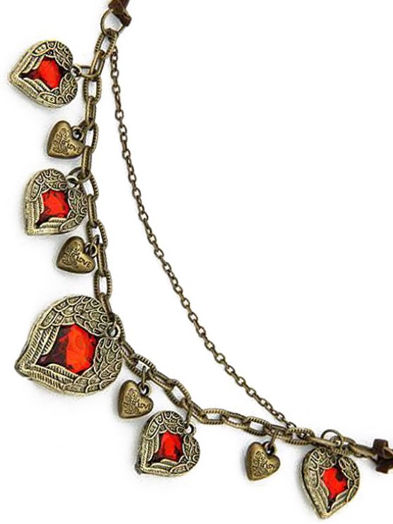 Faux Ruby Heart Shape Retro Style Necklace -   Mobile
