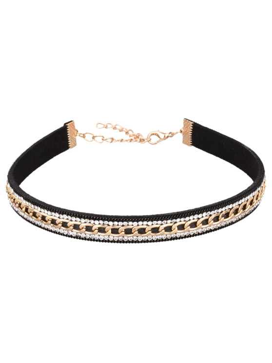 shops Faux Leather Rhinestone Chain Choker Necklace - BLACK