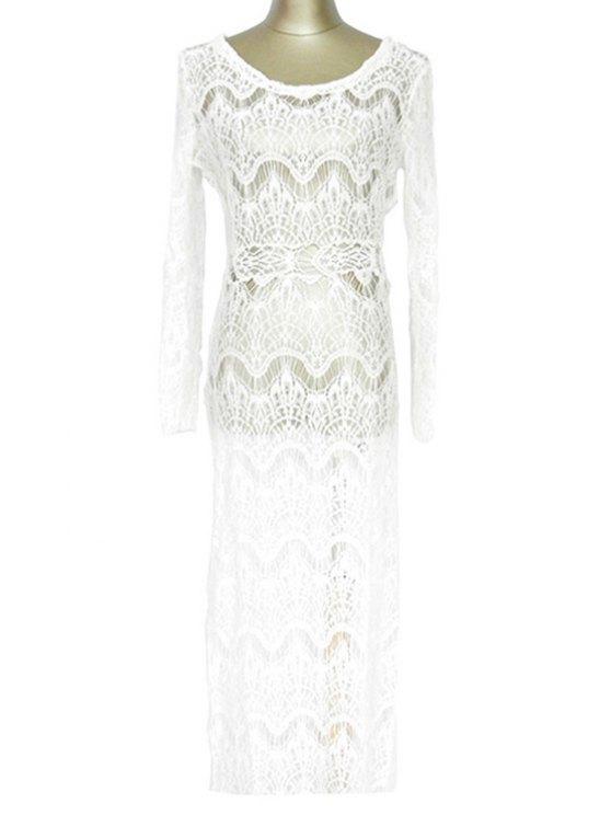 Cordón blanco de manga larga Maxi encubrimiento - Blanco Un tamaño(Montar tam