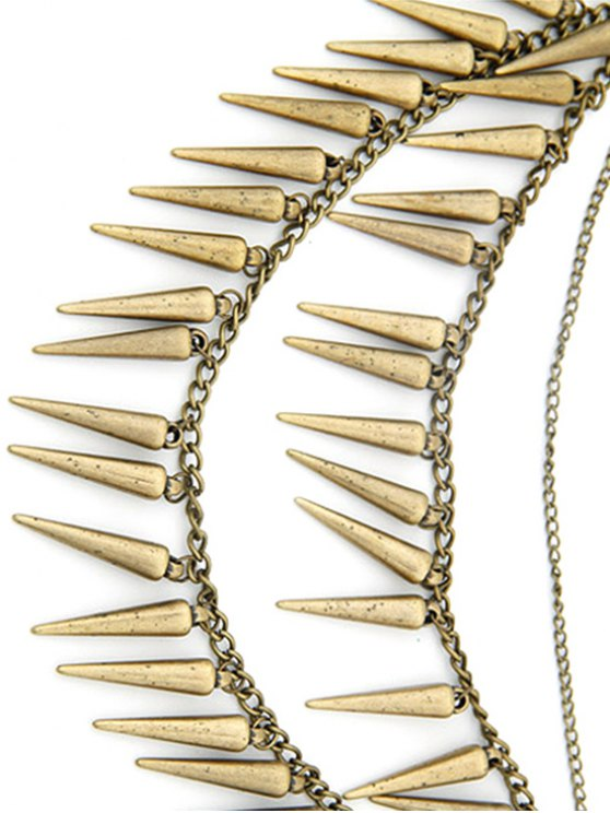 Rivet Pendant Three Layered Alloy Necklace - COPPER COLOR  Mobile