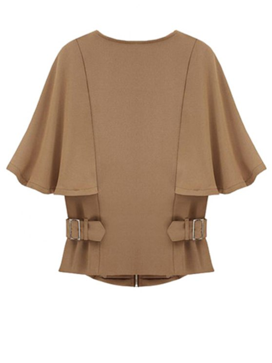 Solid Color Round Color Half Sleeve Cape Coat - CAMEL L Mobile