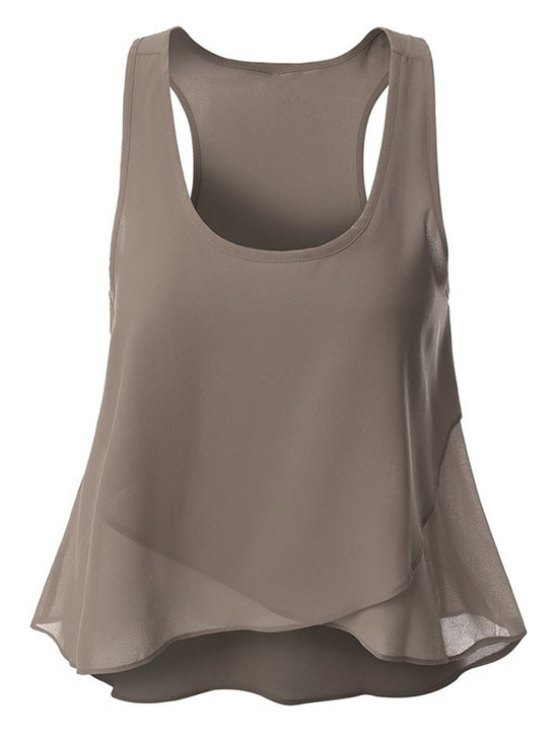 chic Overlaped Chiffon Tank Top - GRAY S