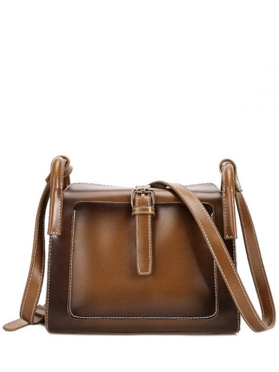 fashion Stitching Buckle PU Leather Crossbody Bag - BROWN