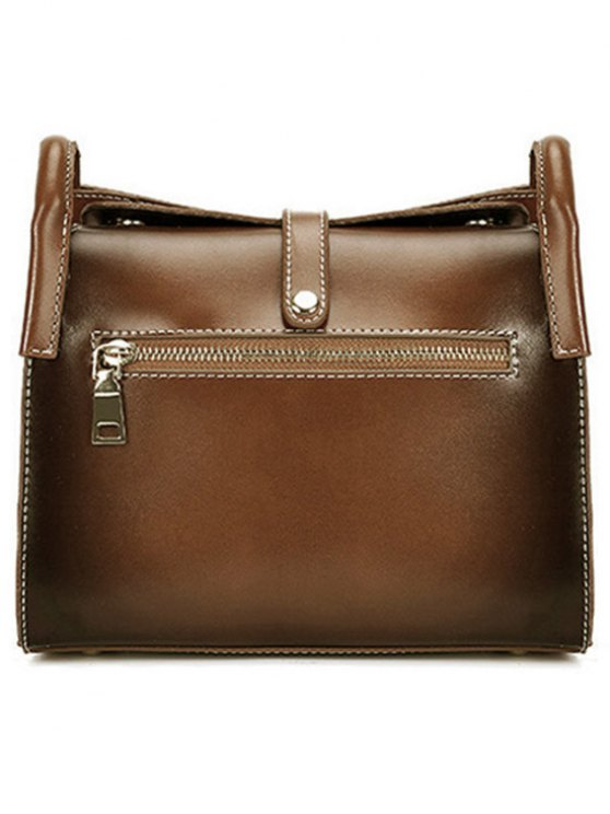Stitching Buckle PU Leather Crossbody Bag - BROWN  Mobile