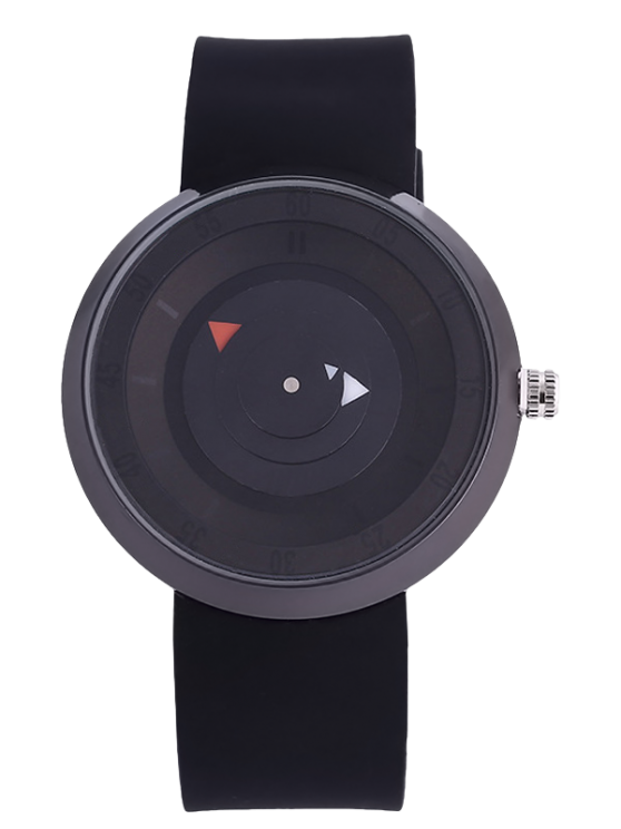 Silicone Number Turntable Watch - BLACK  Mobile