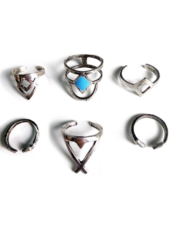 Ethnic Style Hollow Rhombus Rings - SILVER  Mobile