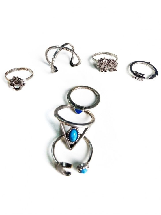 Ethnic Style Moon Elephant Rings - SILVER  Mobile