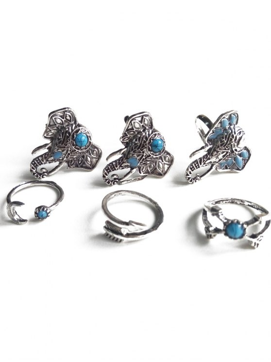 fancy Faux Turquoise Elephant Head Ethnic Style Rings - SILVER