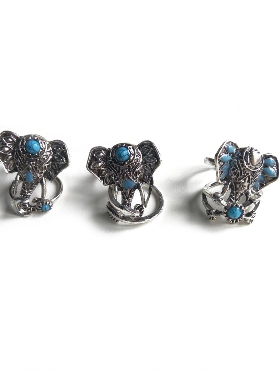 Faux Turquoise Elephant Head Ethnic Style Rings - SILVER  Mobile