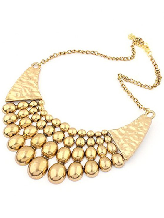 Multilayered Bead Pendant Clavicle Necklace - GOLDEN  Mobile