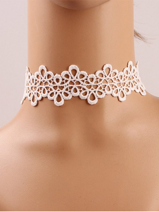 Crochet Flower Choker - WHITE GREY  Mobile