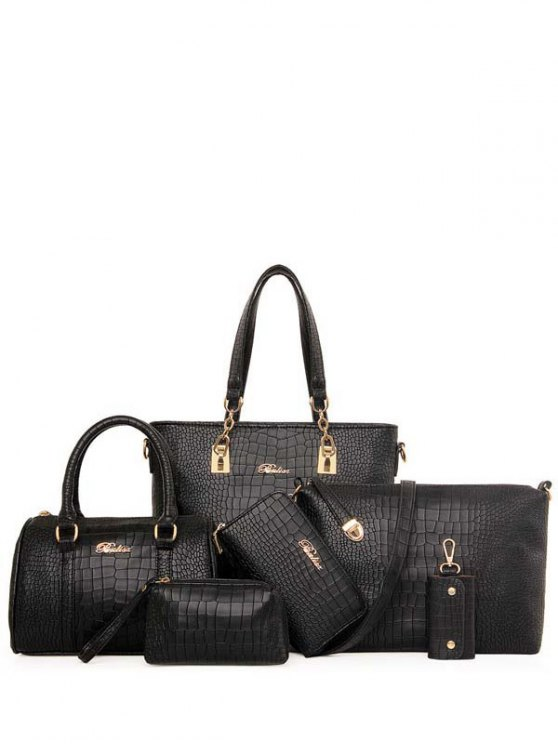 Metal Letter Crocodile Print Shoulder Bag - BLACK  Mobile