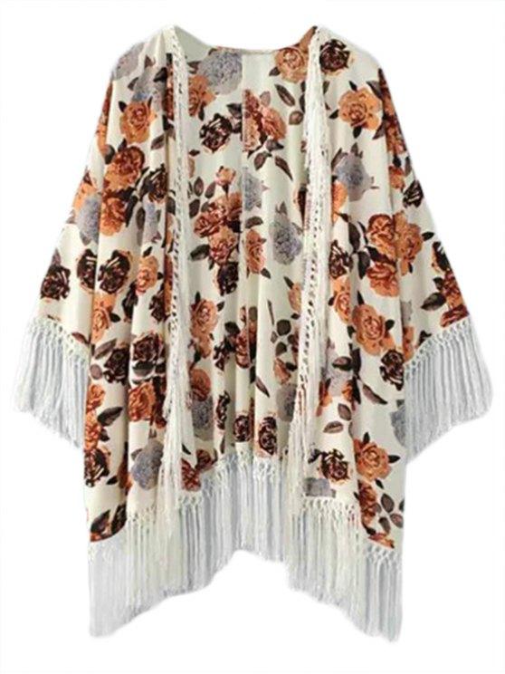 Fringe impresión floral sin cuello 3/4 manga kimono Blusa - Marrón S