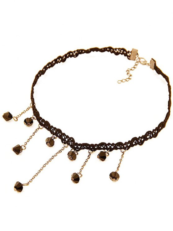 Chain Fringed Lace Chokers Necklace - BLACK  Mobile