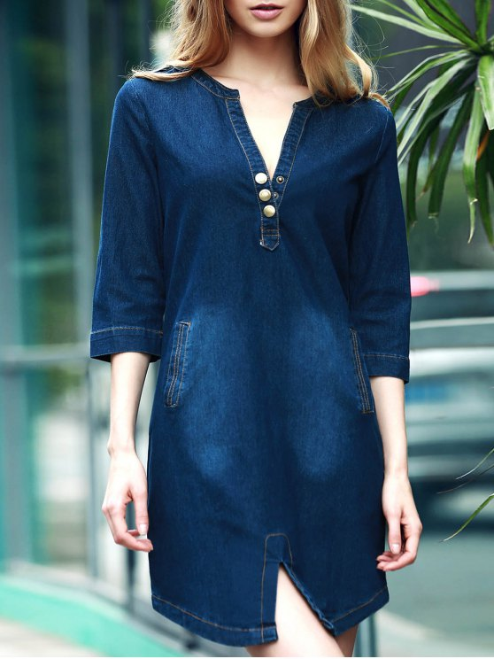 fashion V-Neck 3/4 Sleeve Denim Dress - BLUE XL