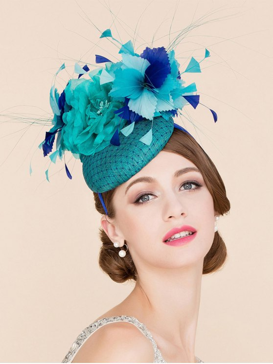 Stylish Flower Feather Fascinator Headband Wedding Banquet Party Pillbox Hat - Lake Blue