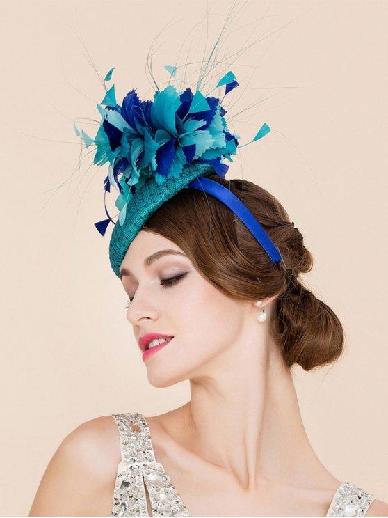 Stylish Flower Feather Fascinator Headband Wedding Banquet Party Pillbox Hat - LAKE BLUE  Mobile