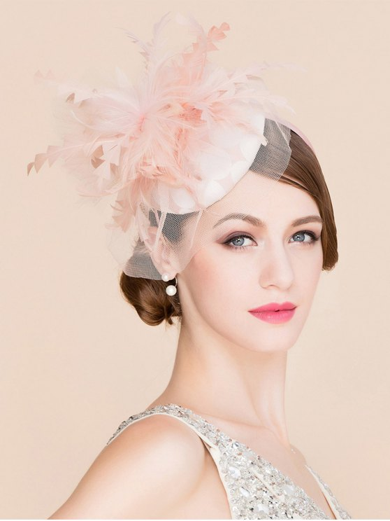 online Stylish Feather Lace Fascinator Headband Wedding Banquet Party Pillbox Hat - PINK