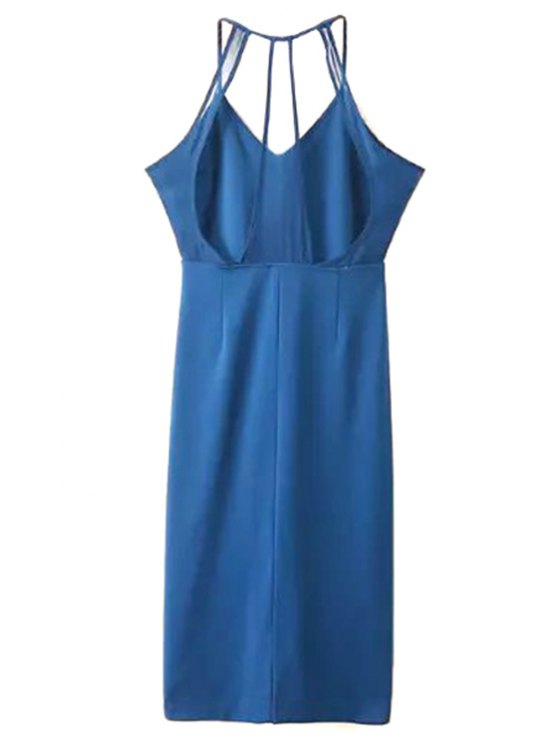 Sleeveless Solid Color Sheath Dress - BLUE L Mobile