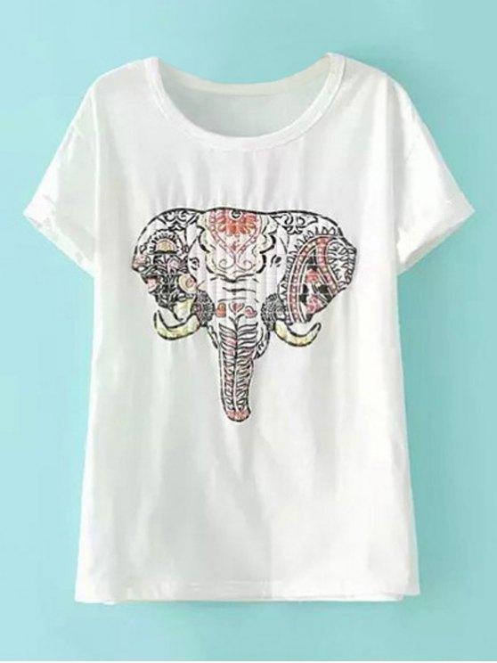 Manga corta del elefante Camiseta con estampado - Blanco S