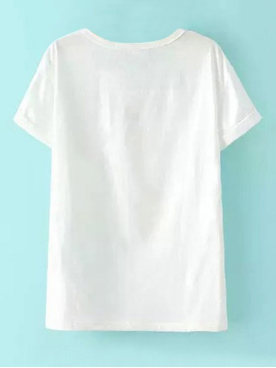 Short Sleeve Elephant Print T-Shirt - WHITE L Mobile