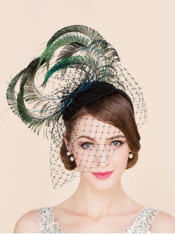 hot Stylish Feather Veil Fascinator Headband Wedding Banquet Party Cocktail Hat - GREEN