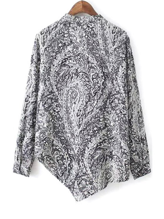 Irregular Hem Stand Collar Long Sleeve Printed Shirt - BLACK M Mobile