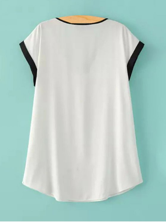Zipper V-Neck Short Sleeve T-Shirt - WHITE S Mobile