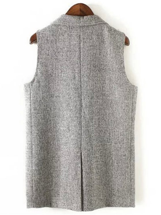 Back Slit Lapel Collar Covered Button Waistcoat - GRAY S Mobile