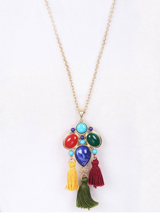 Faux Gem Tassel Pendant Necklace - GOLDEN  Mobile